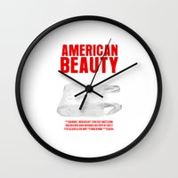 american beauty Wall Clocks featuring American Beauty Movie Poster by FunnyFaceArt