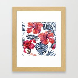 Tropical Background. watercolor tropical leaves and plants. Hand painted jungle greenery background Framed Art Print