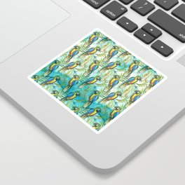 Watercolor blue yellow tropical parrot bird floral Sticker