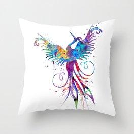 Phoenix Watercolor Print Nursery Art Gift for Her Bird Art Throw Pillow