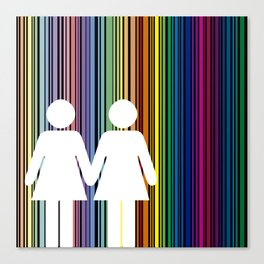 Multicolored lines simulating the rainbow with black background with two women Canvas Print