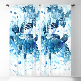 Three Sea Turtles, blue bathroom turtle artwork, Underwater Blackout Curtain