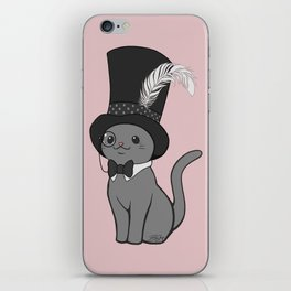 Grey Cat Wears Plumed Top Hat iPhone Skin