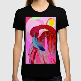 Contemporary Abstracted Tropical Flamingo Art T-shirt
