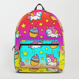Cute funny Kawaii chibi pink little playful baby unicorns, happy sweet colorful yummy cupcakes and golden stars pretty green and blue red yellow rainbow pattern design. Nursery decor. Backpack
