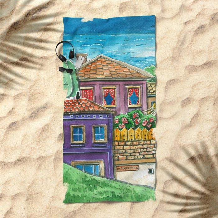 Doodle houses  Beach Towel
