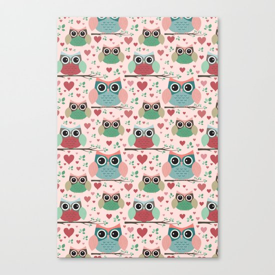 Owls in Love Pattern Canvas Print