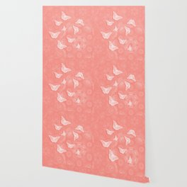 A flutter of butterflies on peach mandala patterns Wallpaper