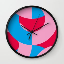 Blue and Pink circled chains, in a red Backgrounded Prison. Wall Clock