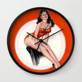 Pin-Up Beauty in Red Bikini by Peter Driben Wall Clock