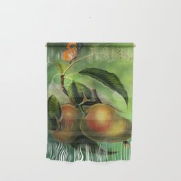 Bombay Mangos with Butterfly, Vintage Botanical Illustration Collage Art Wall Hanging