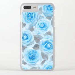 Painted Roses in Blue & Grey Clear iPhone Case
