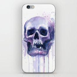 Skull in Watercolor Galaxy Space iPhone Skin