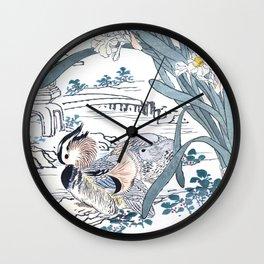 Kono Bairei - Couple Of Ducks And Narcissus Flowers - Vintage Japanese Woodblock Print Art Wall Clock