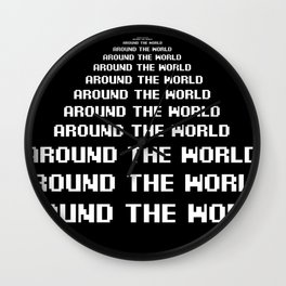 around the world black art print Wall Clock