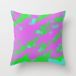 pink green and blue square painting abstract background Throw Pillow