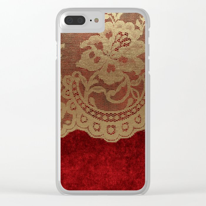 Red Lace Velvet 01 Clear iPhone Case