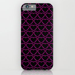 Wicker metal pattern of pink hearts on a black background. iPhone Case