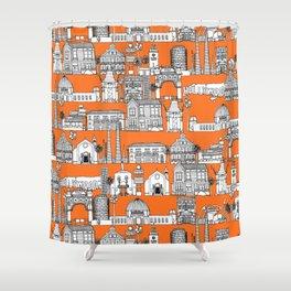 Los Angeles orange Shower Curtain