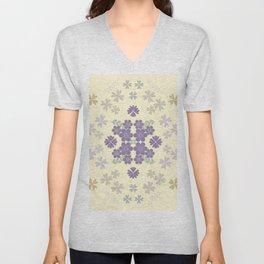 The pattern with the image of flowers gently pastel shades and botanical elements. Minimalistic desi Unisex V-Neck
