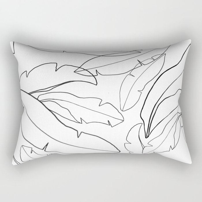 Black and White Banana Leaves Rectangular Pillow