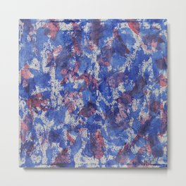 Blue and Red Watercolor on White Background Metal Print