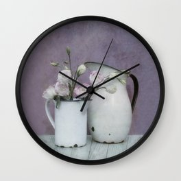 Shabby French chic-vintage metal jugs with flowers Wall Clock