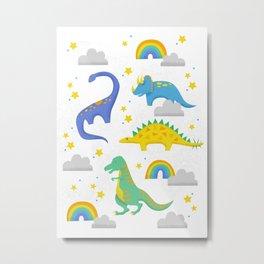 Dinosaurs + Rainbows Metal Print