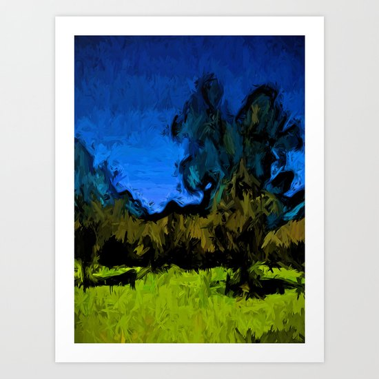 Gold Trees in the Blue Wind Art Print
