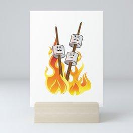 Happy Marshmallow-een Funny Marshmallow Roast Halloween design Mini Art Print
