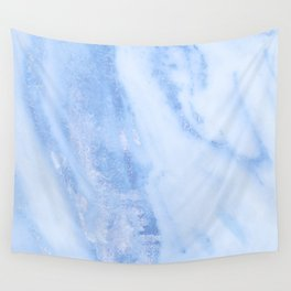 Shimmery Pure Cerulean Blue Marble Metallic Wall Tapestry