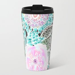 Hand painted black pink teal white green watercolor floral Travel Mug