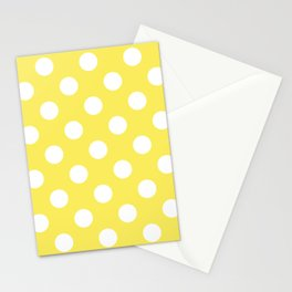 Maize - yellow - White Polka Dots - Pois Pattern Stationery Cards