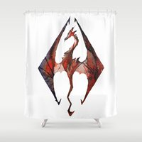 skyrim Shower Curtains featuring Skyrim Alduin by Rubis Firenos