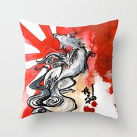 okami Throw Pillows featuring OKAMI by Rubis Firenos