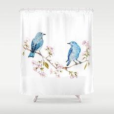 Mountain Bluebirds on Sakura Branch Shower Curtain
