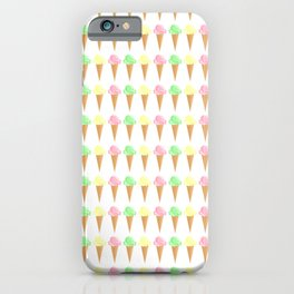 Vanilla, Mint, and Strawberry Ice Cream Cone Pattern iPhone Case