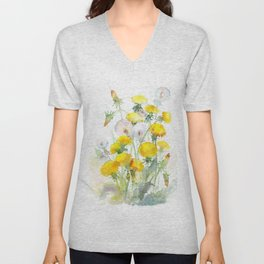 Watercolor yellow flowers dandelions Unisex V-Neck