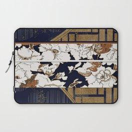 Navy and Gold Herringbone Peony Obi Print Laptop Sleeve