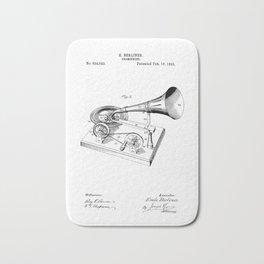 patent art Berliner Gramophone 1895 Bath Mat
