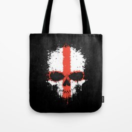 Flag of England on a Chaotic Splatter Skull Tote Bag