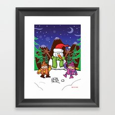 Christmas Snowman and Children Framed Art Print