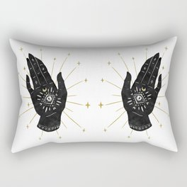 Mystic Hand with Eye - Black and Gold Ink Rectangular Pillow