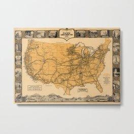 Greyhound Bus Line Map 1935 Metal Print