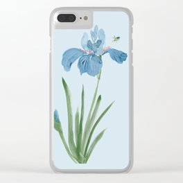 Blue Iris and Bee Clear iPhone Case