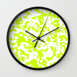 Spots - White and Fluorescent Yellow Wall Clock
