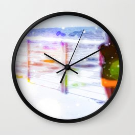 standing alone at the beach with summer bokeh light Wall Clock