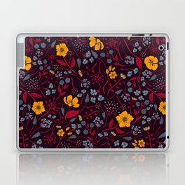 Mustard Yellow, Burgundy & Blue Floral Pattern Laptop & iPad Skin