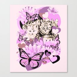 Frieda's Baby Cats in Pink Canvas Print