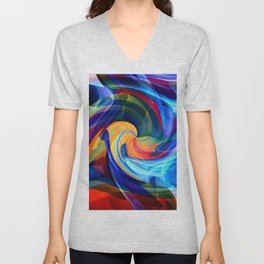 This Kiss Digital Abstract Art By Annie Zeno Unisex V-Neck